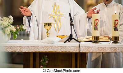 Priest during a wedding ceremony/nuptial mass