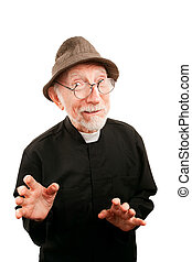 Friendly priest in glasses and a hat