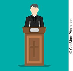 Priest giving speech from tribune. Catholic preacher person....
