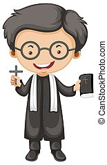 Priest holding bible and cross