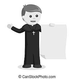 Priest holding big paper