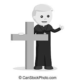 Priest holding big wooden cross