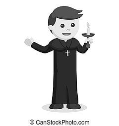 Priest holding candle color