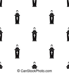 Priest icon in black style isolated on white background. Religion pattern stock vector illustration.