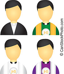priest icons isolated over white background. vector