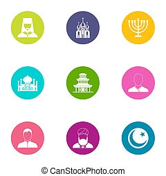Priest icons set, flat style - Priest icons set. Flat set of...