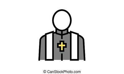 priest pastor animated color icon. priest pastor sign. isolated on white background