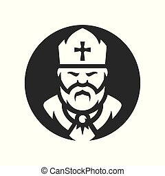 Priest Religion Vector silhouette sign. - Church man...