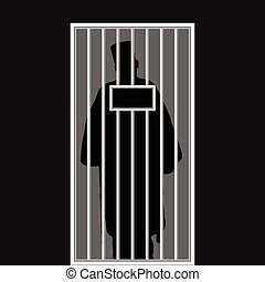 priest silhouette in jail illustration