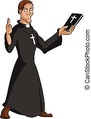 Vector image of funny cartoon smart priest