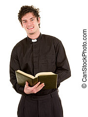 A priest holding a open bible, isolated on white