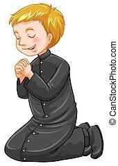 priester, zijn, biddend, knieën