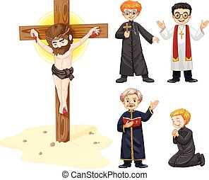 Priests and jesus figure