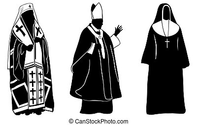 priests - set of different priests isolated