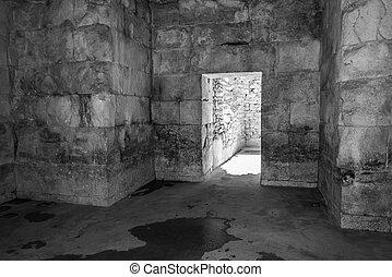 prigioni sotterranee, o, vecchio, abbandonato, catacombs.