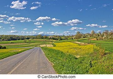 Prigorje region spring lanscape road, Croatia