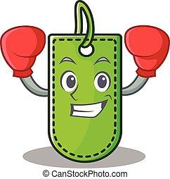 prijs, boxing, karakter, spotprent, label