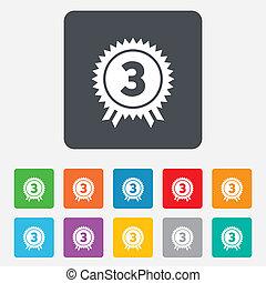 prijs, derde, winner., meldingsbord, plek, toewijzen, icon.