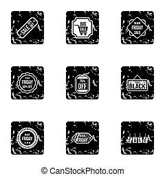 prijs, dons, iconen, set, grunge, stijl