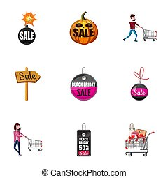prijs, dons, iconen, set, spotprent, stijl