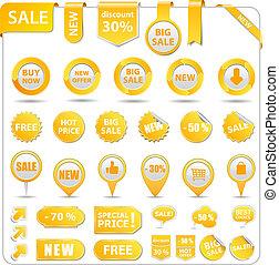 prijs, gele, markeringen