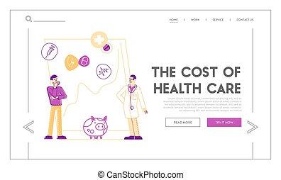 prijs, geneeskunde, kosten, mensen, bank, illustratie, gezondheidszorg, geld, patiënt, piggy, arts, template., vector, collecteren, stander, groeiende, pagina, lineair, besparing, chart., mannelijke , reusachtig, karakters, tussenverdieping