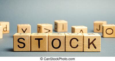 prijs, handel, determination., liggen, investering, stock., exchange., pricing., woord, hoofdstad, gains., portfolio., houten blokken, aandeel, algemeen, geprefereerde, markt, stocks.