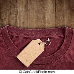 prijs label, hangen over, tshirt