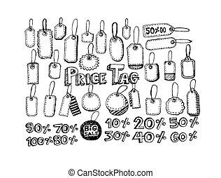 prijs label, set, vector