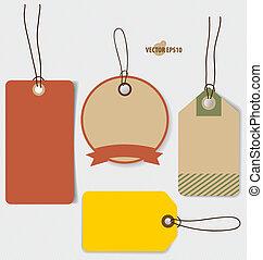 prijs label, verkoop, bon, voucher., ouderwetse , stijl, mal, ontwerp, v