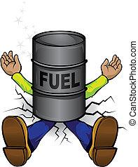 prijzen, botsing, brandstof, hoog
