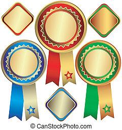 prijzen, goud, brons, (vector), zilver