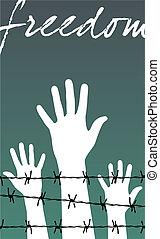 prikkeldraad, woord, vrijheid, gevangenis, achter, handen