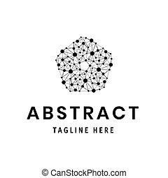 prikker, blomst, firma, moderne, logotype, poly, element, polygonal, lines., lavtliggende, logo., template.