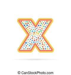 prikker, cirkler, brev, abstrakt, isoleret, illustration, kreative, vektor, konstruktion, baggrund, logo, x, hvid, symbol, design.