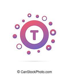 prikker, cirkler, brev, abstrakt, isoleret, illustration, kreative, vektor, konstruktion, t, baggrund, logo, hvid, symbol, design.