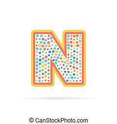 prikker, cirkler, brev, abstrakt, isoleret, illustration, n, vektor, konstruktion, baggrund, logo, hvid, kreative, symbol, design.