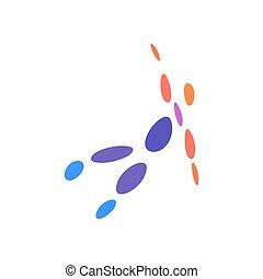 prikker, illustration., farverig, abstrakt, flyve, symbol., vektor, menneske, logo, logo., man., skabelon
