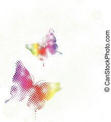 prikker, regnbue, vektor, illustration, butterfly.
