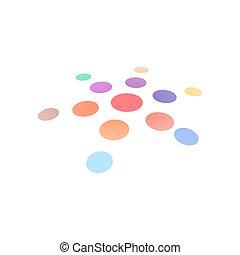 prikker, sol, abstrakt, isoleret, symbol., forme., vektor, konstruktion, logo, kreative, template., omkring, ikon