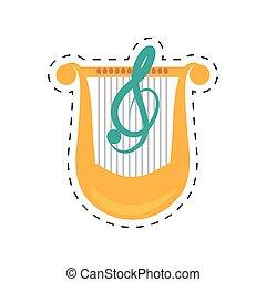 prikket, klassisk, lyre, musik, beklæde, harpe