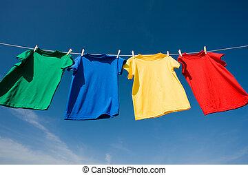 primário, camisetas, colorido