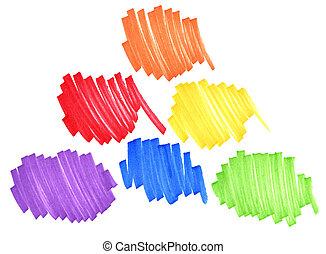 primär, och, sekundärt, färger