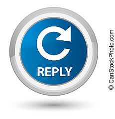 prima, azul, botón, icon), flecha, réplica, (rotate, redondo