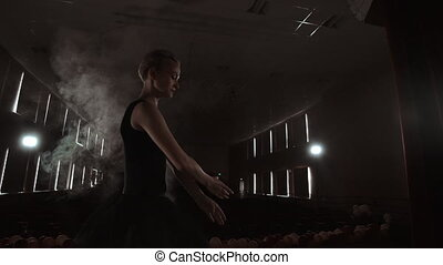 Prima ballerina on pointes training on stage with spotlights...