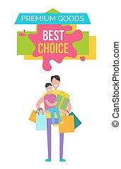 prima, bienes, mejor, opción, vector, ilustración