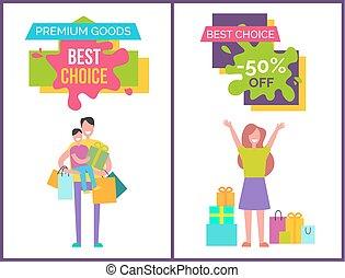 prima, bienes, y, mejor, opción, vector, ilustración