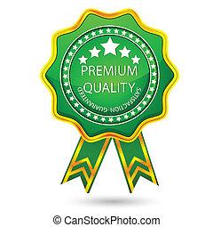 prima, calidad, insignia