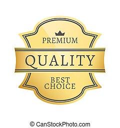 prima, calidad, mejor, opción, vector, ilustración