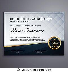 prima, certificado, moderno, aprecio, diseño, plantilla
